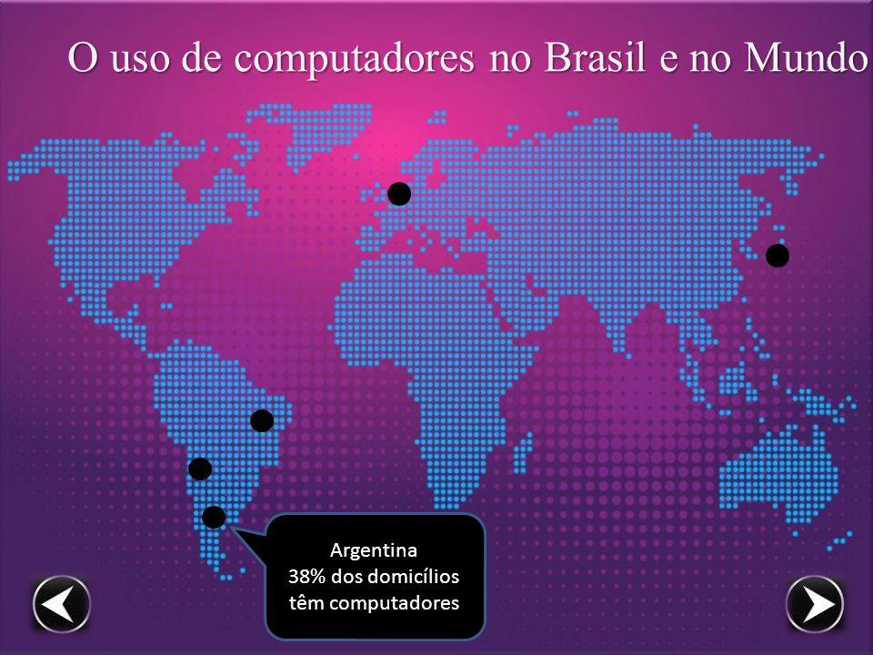 O uso de computadores no Brasil e no Mundo Argentina 38% dos domicílios têm computadores
