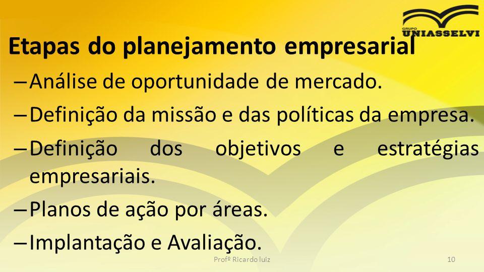 • Etapas do planejamento empresarial – Análise de oportunidade de mercado. – Definição da missão e das políticas da empresa. – Definição dos objetivos
