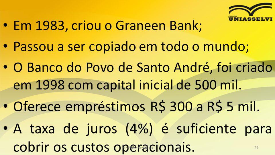 • Em 1983, criou o Graneen Bank; • Passou a ser copiado em todo o mundo; • O Banco do Povo de Santo André, foi criado em 1998 com capital inicial de 5