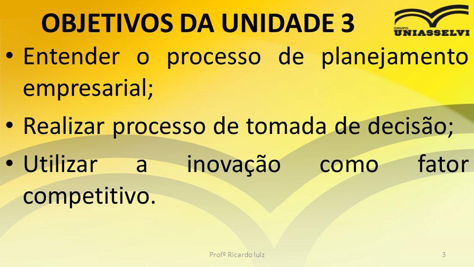 OBJETIVOS DA UNIDADE 3 • Entender o processo de planejamento empresarial; • Realizar processo de tomada de decisão; • Utilizar a inovação como fator c