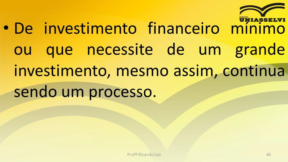 • De investimento financeiro mínimo ou que necessite de um grande investimento, mesmo assim, continua sendo um processo. Profº Ricardo luiz46