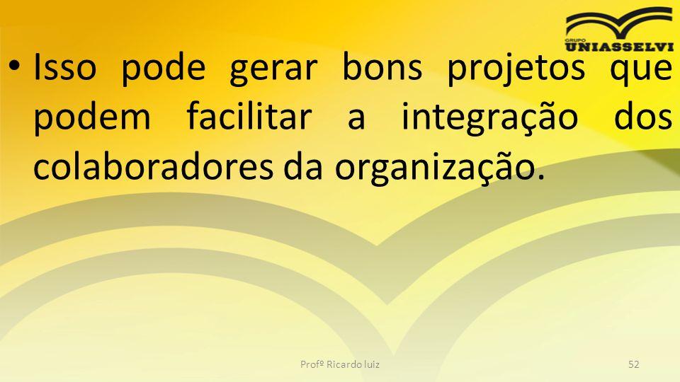 • Isso pode gerar bons projetos que podem facilitar a integração dos colaboradores da organização. Profº Ricardo luiz52