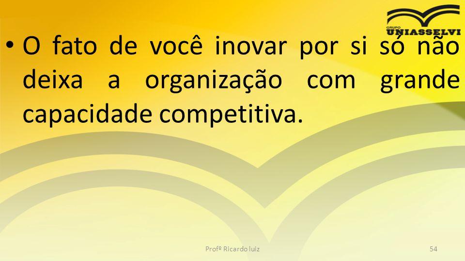 • O fato de você inovar por si só não deixa a organização com grande capacidade competitiva. Profº Ricardo luiz54
