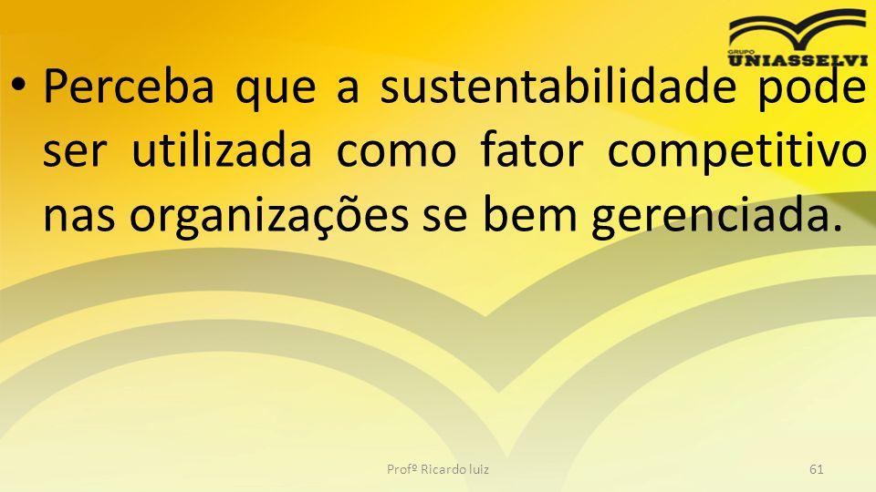 • Perceba que a sustentabilidade pode ser utilizada como fator competitivo nas organizações se bem gerenciada. Profº Ricardo luiz61