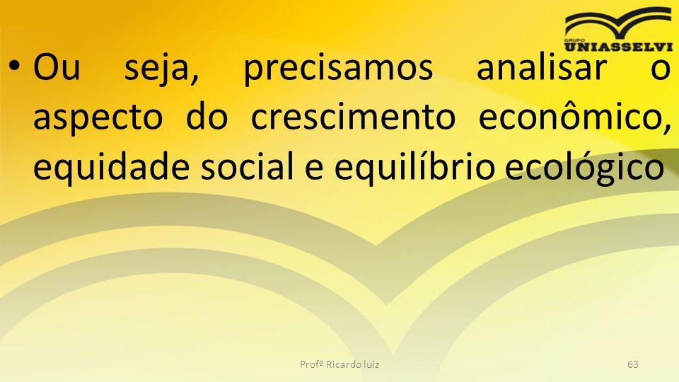 • Ou seja, precisamos analisar o aspecto do crescimento econômico, equidade social e equilíbrio ecológico Profº Ricardo luiz63