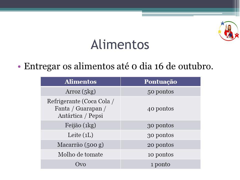 Alimentos •Entregar os alimentos até 0 dia 16 de outubro. AlimentosPontuação Arroz (5kg)50 pontos Refrigerante (Coca Cola / Fanta / Guarapan / Antárti