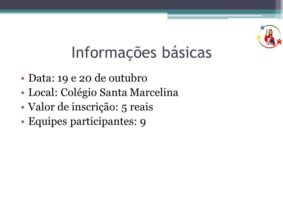 Informações básicas •Data: 19 e 20 de outubro •Local: Colégio Santa Marcelina •Valor de inscrição: 5 reais •Equipes participantes: 9