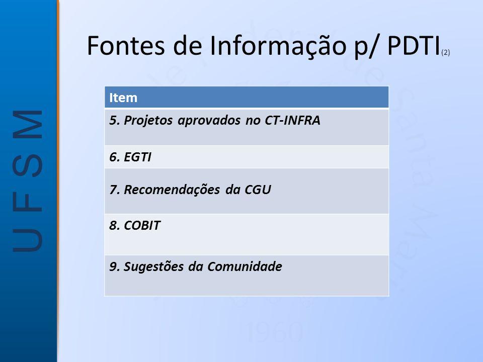 U F S M Fontes de Informação p/ PDTI (2) Item 5.Projetos aprovados no CT-INFRA 6.
