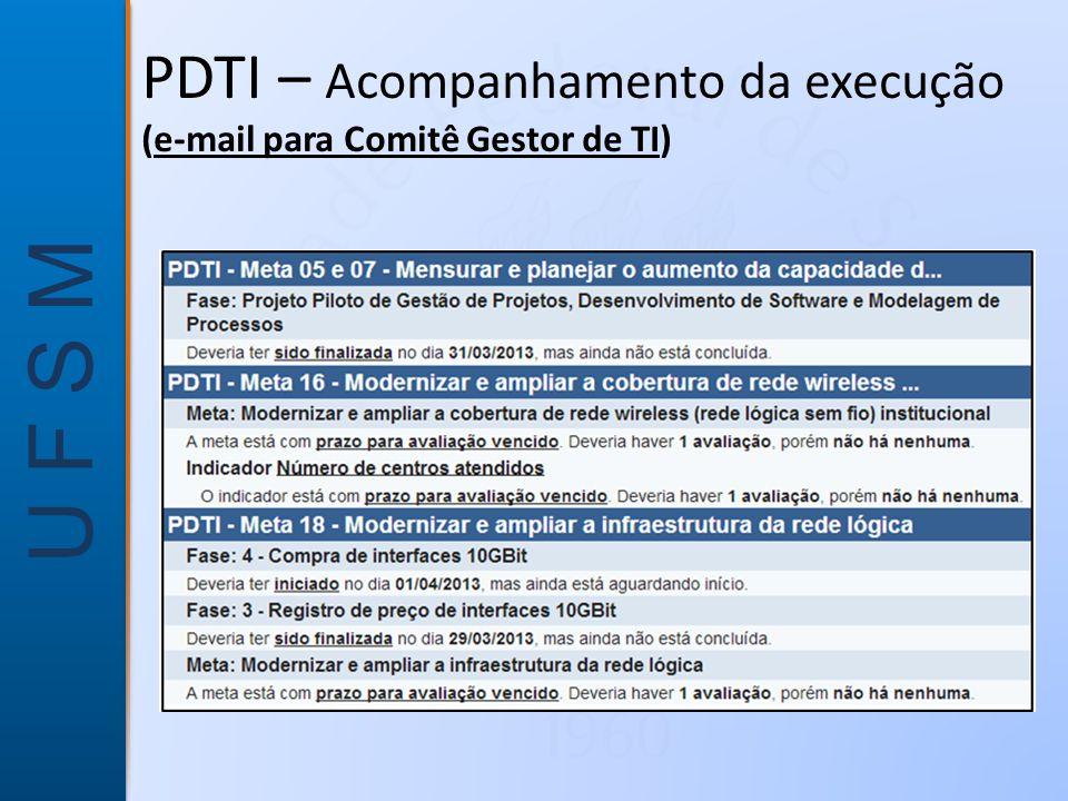 U F S M PDTI – Acompanhamento da execução (e-mail para Comitê Gestor de TI)