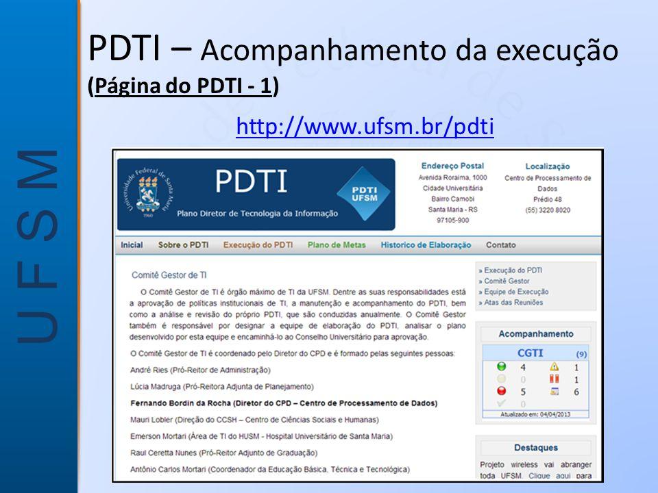 U F S M PDTI – Acompanhamento da execução (Página do PDTI - 1) http://www.ufsm.br/pdti