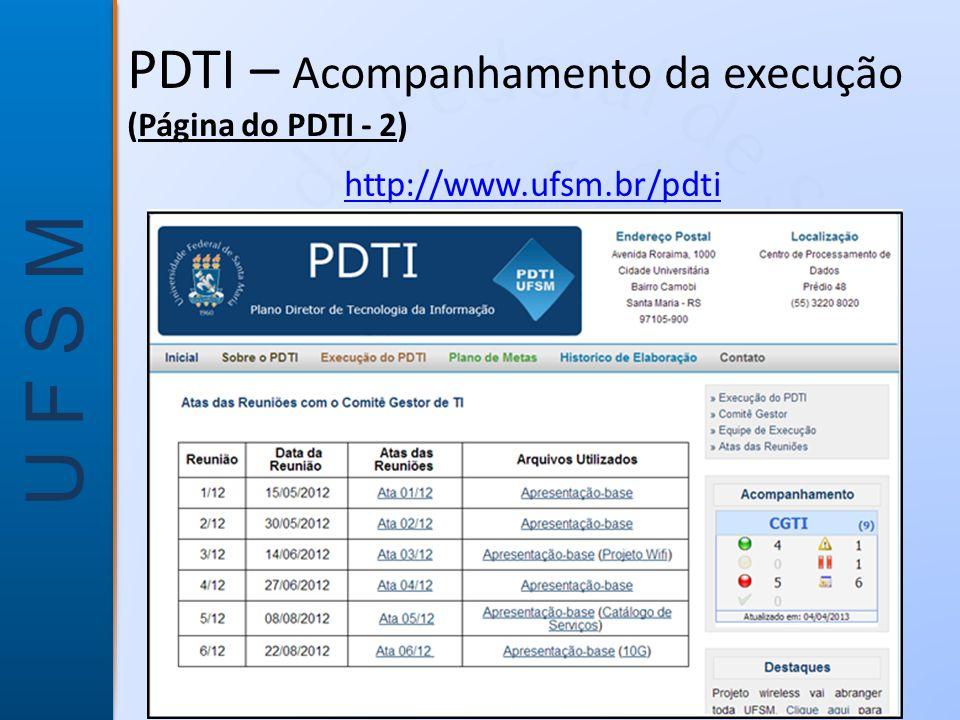 U F S M PDTI – Acompanhamento da execução (Página do PDTI - 2) http://www.ufsm.br/pdti