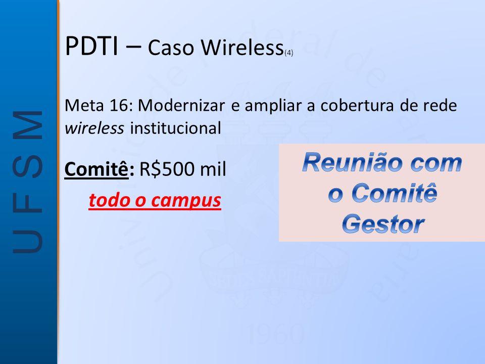 U F S M Meta 16: Modernizar e ampliar a cobertura de rede wireless institucional Comitê: R$500 mil todo o campus PDTI – Caso Wireless (4)