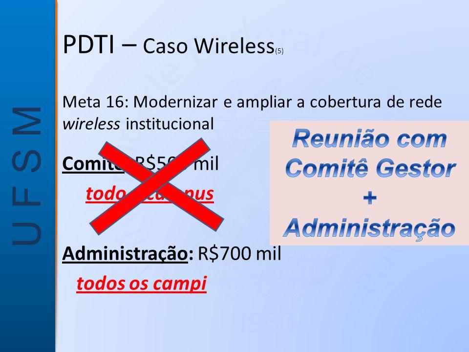 U F S M Meta 16: Modernizar e ampliar a cobertura de rede wireless institucional Comitê: R$500 mil todo o campus Administração: R$700 mil todos os campi PDTI – Caso Wireless (5)