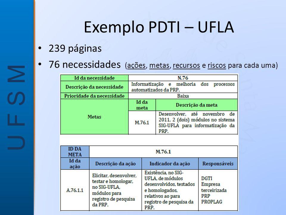 U F S M Exemplo PDTI – UFLA • 239 páginas • 76 necessidades (ações, metas, recursos e riscos para cada uma)