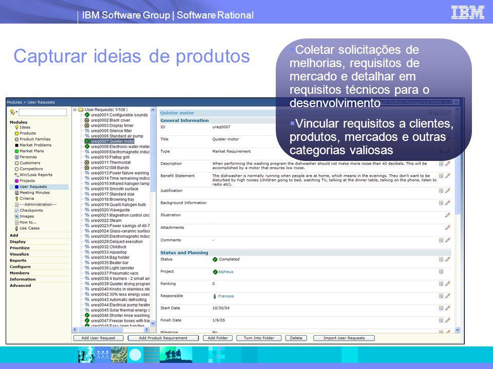 IBM Software Group | Software Rational Capturar ideias de produtos  Coletar solicitações de melhorias, requisitos de mercado e detalhar em requisitos