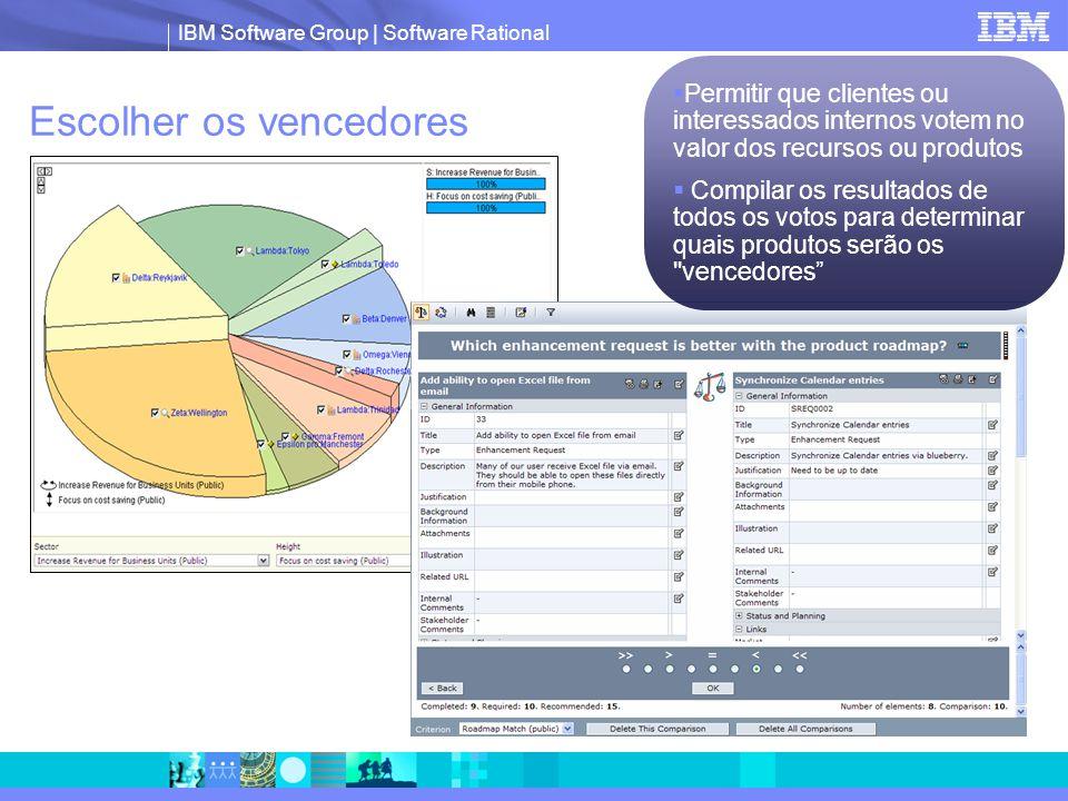 IBM Software Group | Software Rational Escolher os vencedores  Permitir que clientes ou interessados internos votem no valor dos recursos ou produtos