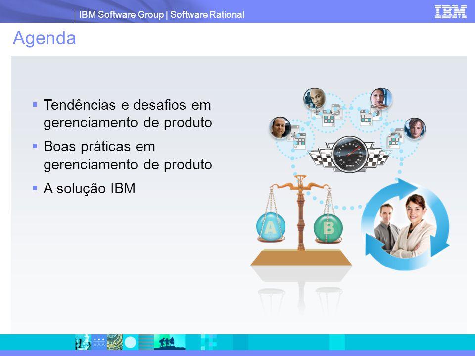 IBM Software Group | Software Rational Gerenciar informações do produto  Criar formulários configuráveis para capturar informações, como um caso de negócio de produto, ou medir o desempenho de produtos  Anexar documentos ou integrar gráficos para adicionar clareza ao texto