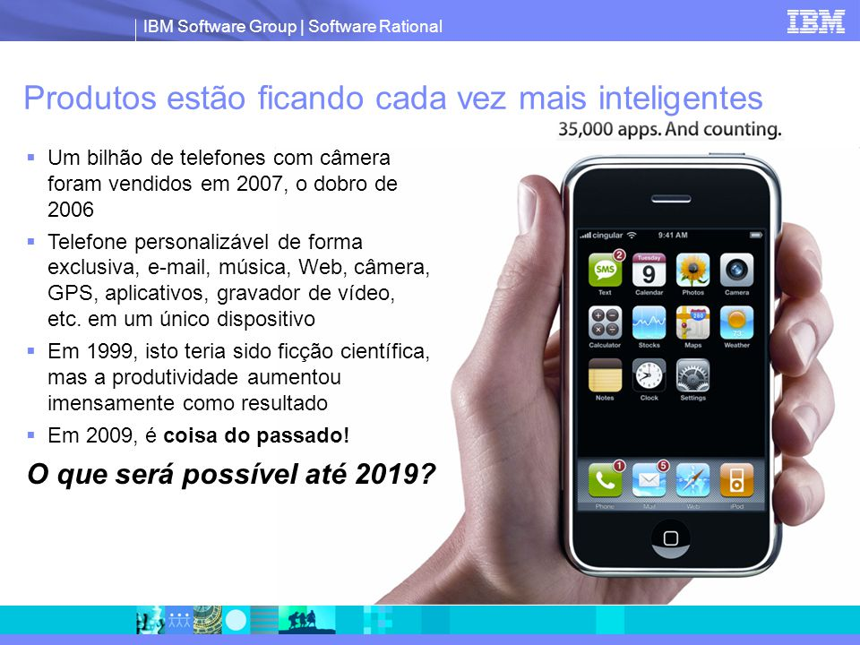 IBM Software Group | Software Rational Produtos estão ficando cada vez mais inteligentes  Um bilhão de telefones com câmera foram vendidos em 2007, o dobro de 2006  Telefone personalizável de forma exclusiva, e-mail, música, Web, câmera, GPS, aplicativos, gravador de vídeo, etc.