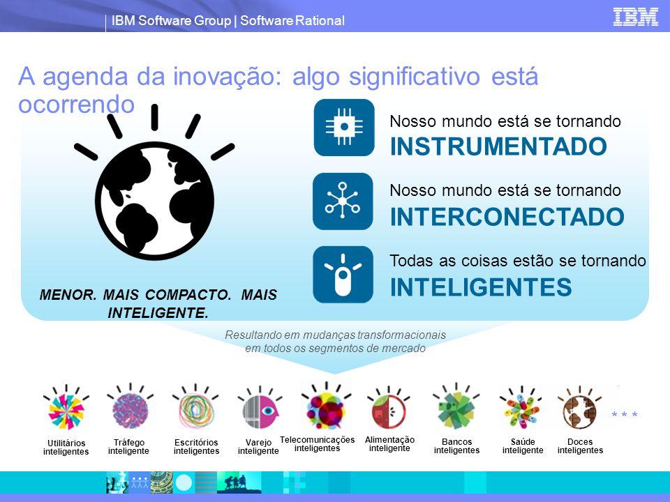 IBM Software Group | Software Rational Resultando em mudanças transformacionais em todos os segmentos de mercado A agenda da inovação: algo significativo está ocorrendo Nosso mundo está se tornando INSTRUMENTADO Nosso mundo está se tornando INTERCONECTADO Todas as coisas estão se tornando INTELIGENTES MENOR.