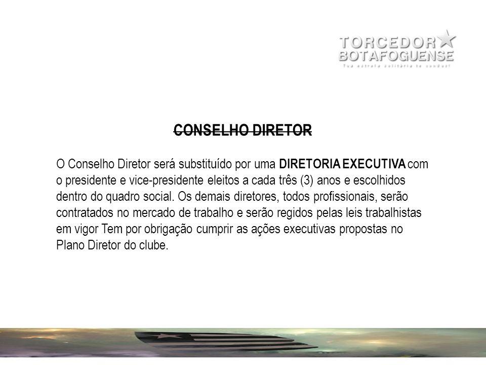 CONSELHO DIRETOR O Conselho Diretor será substituído por uma DIRETORIA EXECUTIVA com o presidente e vice-presidente eleitos a cada três (3) anos e esc