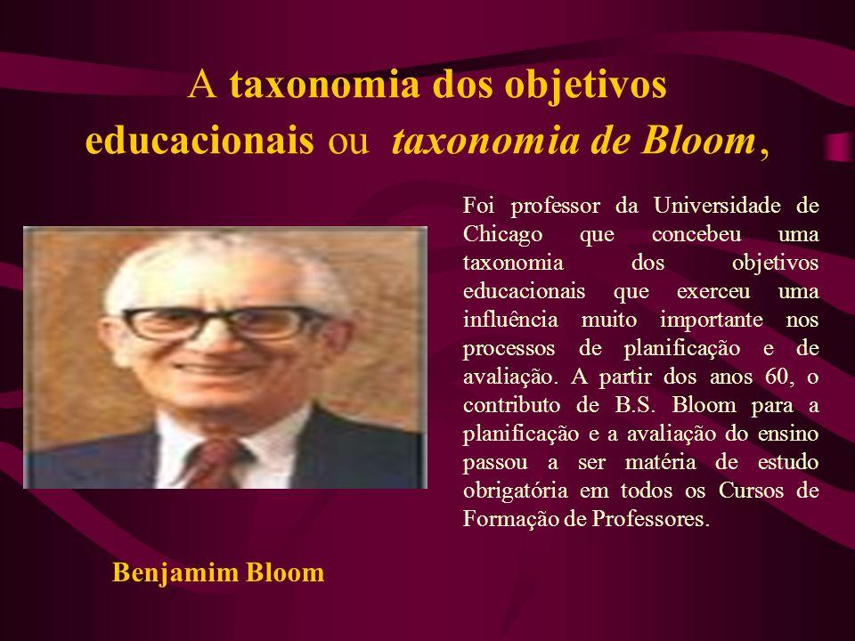 A taxonomia dos objetivos educacionais ou taxonomia de Bloom, Foi professor da Universidade de Chicago que concebeu uma taxonomia dos objetivos educac
