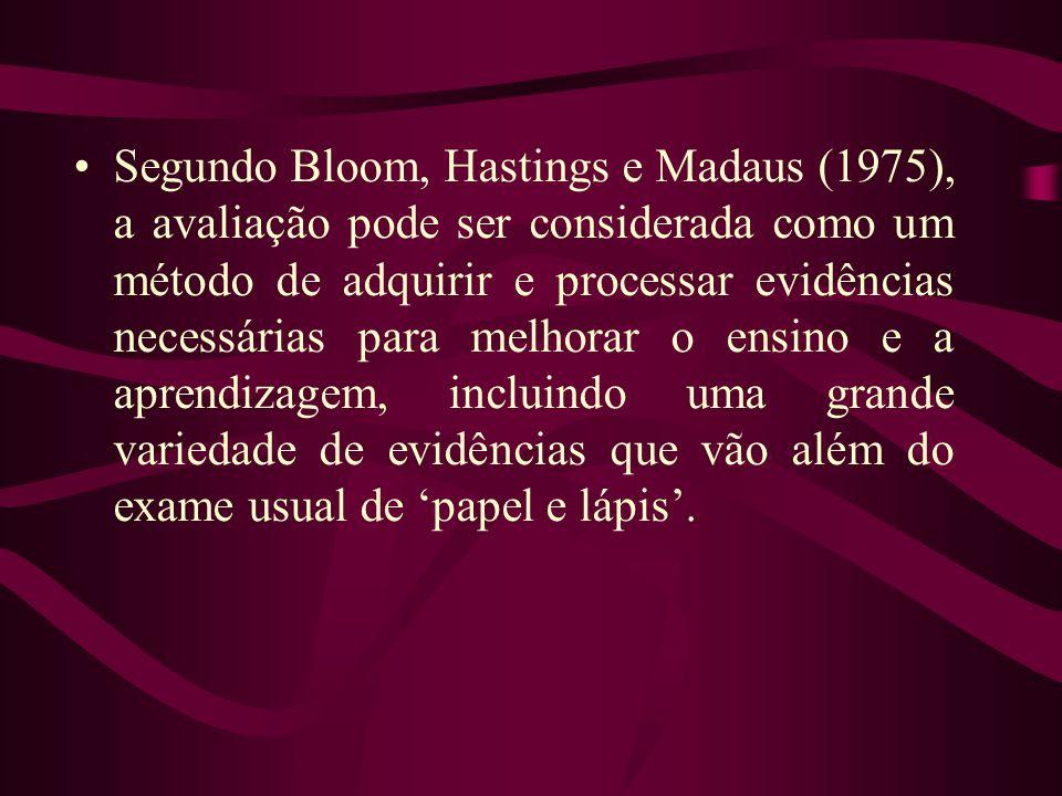 •Segundo Bloom, Hastings e Madaus (1975), a avaliação pode ser considerada como um método de adquirir e processar evidências necessárias para melhorar