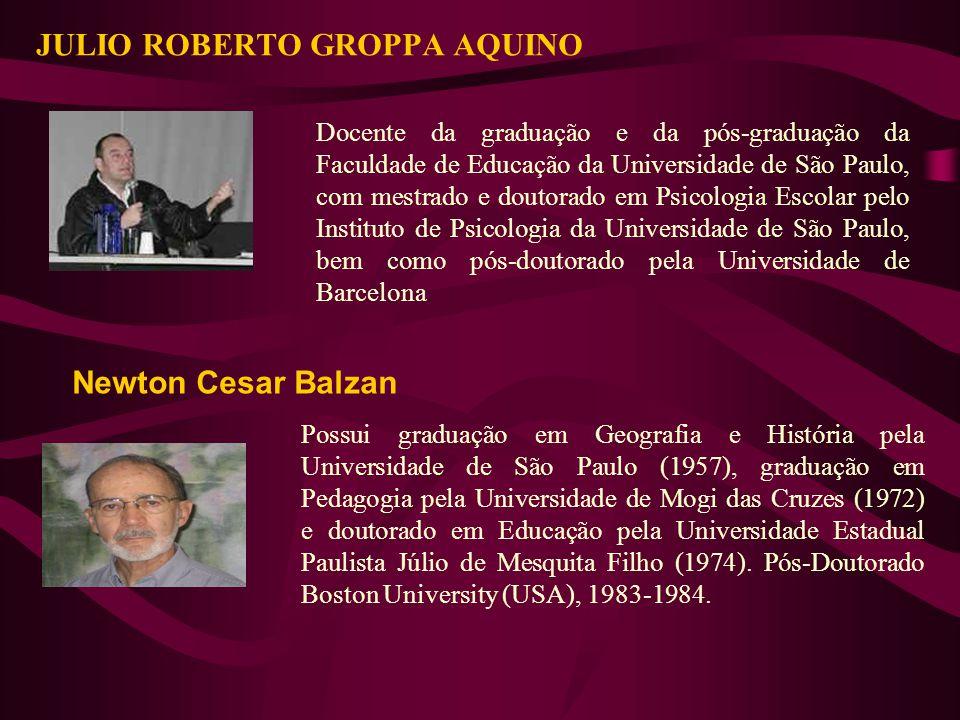 JULIO ROBERTO GROPPA AQUINO Docente da graduação e da pós-graduação da Faculdade de Educação da Universidade de São Paulo, com mestrado e doutorado em