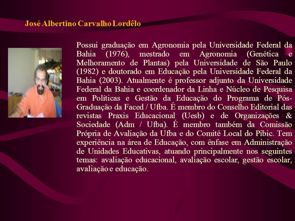 José Albertino Carvalho Lordêlo Possui graduação em Agronomia pela Universidade Federal da Bahia (1976), mestrado em Agronomia (Genética e Melhorament