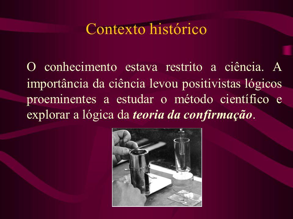 Contexto histórico O conhecimento estava restrito a ciência. A importância da ciência levou positivistas lógicos proeminentes a estudar o método cient