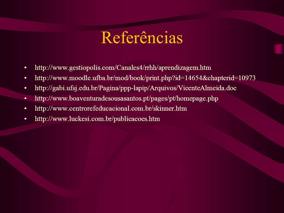 Referências •http://www.gestiopolis.com/Canales4/rrhh/aprendizagem.htm •http://www.moodle.ufba.br/mod/book/print.php?id=14654&chapterid=10973 •http://