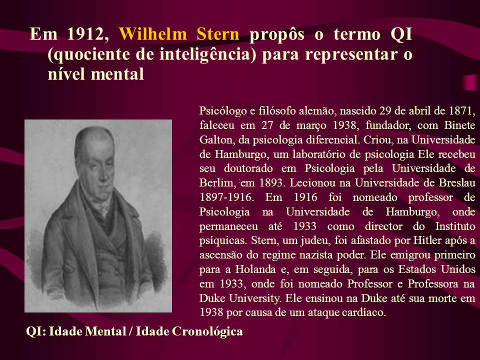Em 1912, Wilhelm Stern propôs o termo QI (quociente de inteligência) para representar o nível mental :: Idade Mental / Idade Cronológica QI: Idade Men