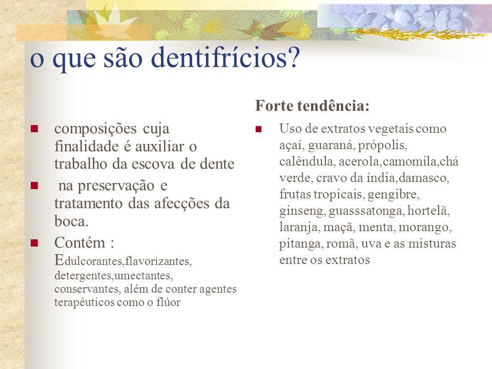 o que são dentifrícios?  composições cuja finalidade é auxiliar o trabalho da escova de dente  na preservação e tratamento das afecções da boca.  C