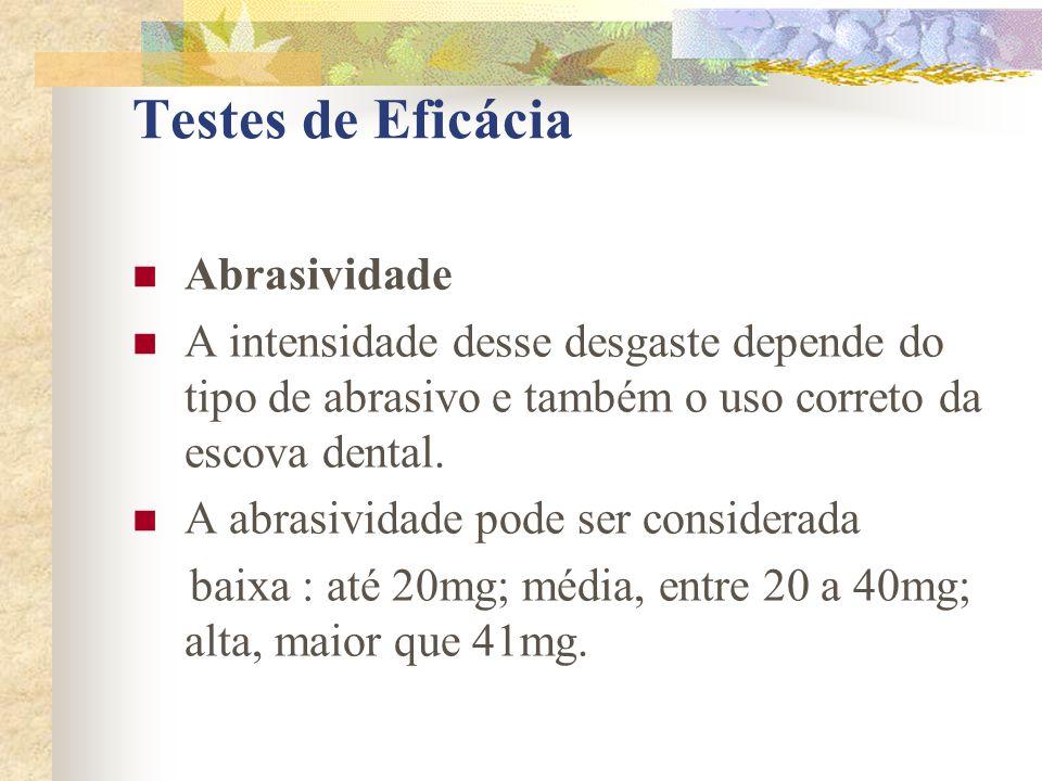 Testes de Eficácia  Abrasividade  A intensidade desse desgaste depende do tipo de abrasivo e também o uso correto da escova dental.  A abrasividade