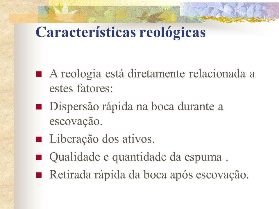 Características reológicas  A reologia está diretamente relacionada a estes fatores:  Dispersão rápida na boca durante a escovação.  Liberação dos