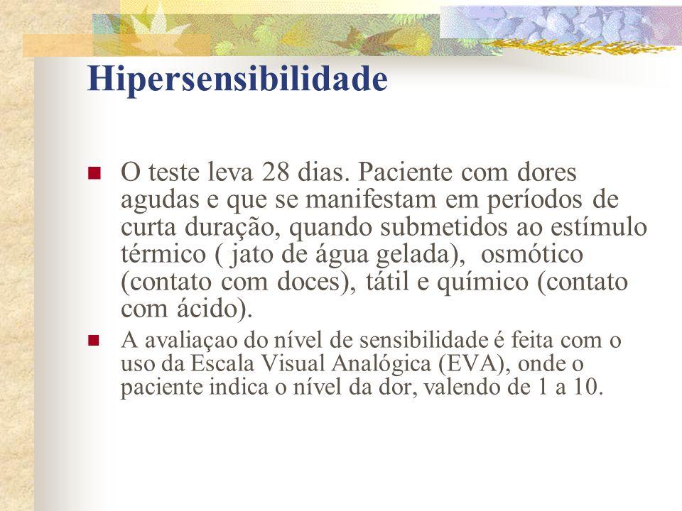 Hipersensibilidade  O teste leva 28 dias. Paciente com dores agudas e que se manifestam em períodos de curta duração, quando submetidos ao estímulo t