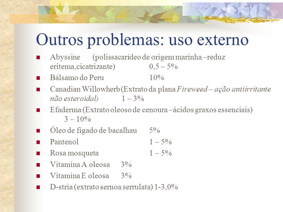 Outros problemas: uso externo  Abyssine(polissacarídeo de origem marinha –reduz eritema,cicatrizante)0,5 – 5%  Bálsamo do Peru 10%  Canadian Willow