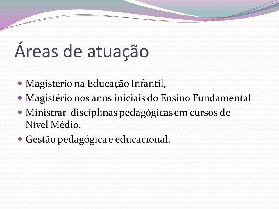 Áreas de atuação  Magistério na Educação Infantil,  Magistério nos anos iniciais do Ensino Fundamental  Ministrar disciplinas pedagógicas em cursos de Nível Médio.