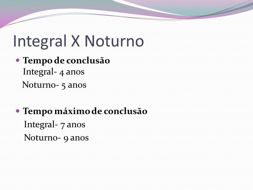 Integral X Noturno  Tempo de conclusão Integral- 4 anos Noturno- 5 anos  Tempo máximo de conclusão Integral- 7 anos Noturno- 9 anos