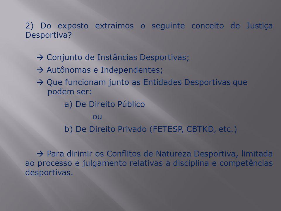 2) Do exposto extraímos o seguinte conceito de Justiça Desportiva?  Conjunto de Instâncias Desportivas;  Autônomas e Independentes;  Que funcionam