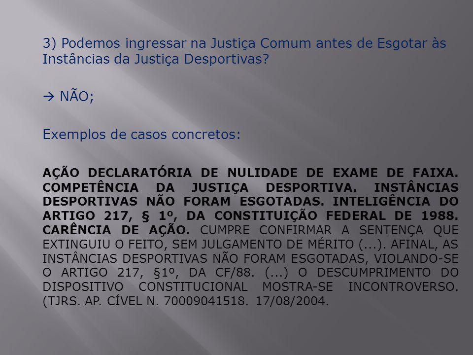 3) Podemos ingressar na Justiça Comum antes de Esgotar às Instâncias da Justiça Desportivas?  NÃO; Exemplos de casos concretos: AÇÃO DECLARATÓRIA DE