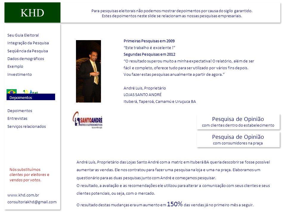 Seu Guia Eleitoral Integração da Pesquisa Seqüência da Pesquisa Dados demográficos Exemplo Investimento 10 Anos Depoimentos Entrevistas Serviços relac
