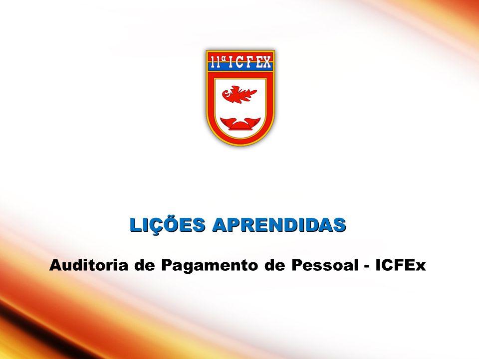 LIÇÕES APRENDIDAS LIÇÕES APRENDIDAS Auditoria de Pagamento de Pessoal - ICFEx