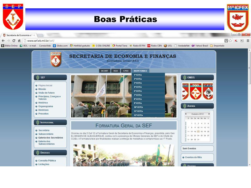 •INSTRUÇÃO PAGAMENTO DE ATIVOS E INATIVOS (site 2ª ICFEx) •LINKS DE LEGISLAÇÃO (3ª ICFEx) •MEMENTO PARA AS EQUIPES RESPONSÁVEIS PELOS EXAMES DO PAGAMENTO DE PESSOAL (B Info nº 09/07 – 3ª ICFEx) •ESTÁGIO PARA OD 2012 - PALESTRAS (site 4ª ICFEx) •PAGAMENTO DE PESSOAL E EXAME DE PAGAMENTO DE PESSOAL (SATT - 5ª ICFEx)