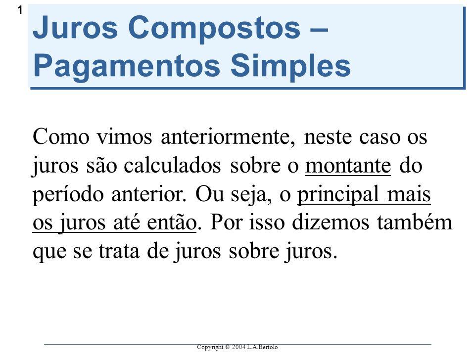 Copyright © 2004 L.A.Bertolo 1 Juros Compostos – Pagamentos Simples Como vimos anteriormente, neste caso os juros são calculados sobre o montante do período anterior.