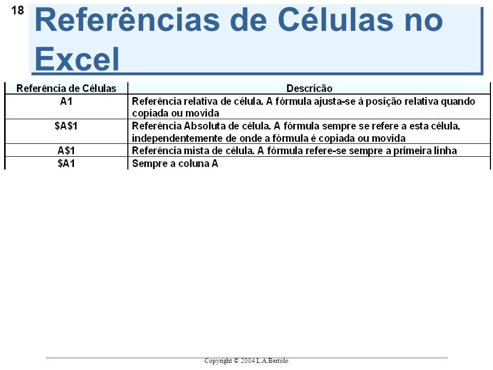 Copyright © 2004 L.A.Bertolo 18 Referências de Células no Excel
