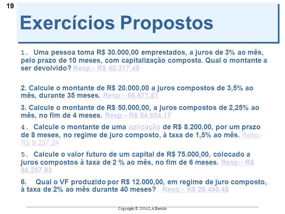 Copyright © 2004 L.A.Bertolo 19 Exercícios Propostos 1.