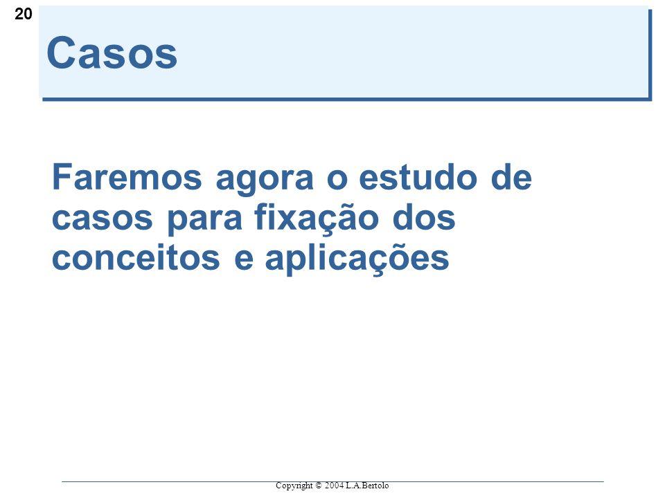 Copyright © 2004 L.A.Bertolo 20 Casos Faremos agora o estudo de casos para fixação dos conceitos e aplicações