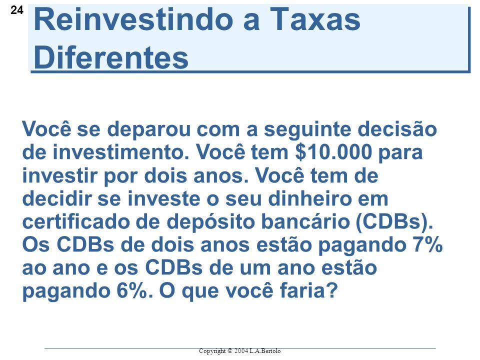 Copyright © 2004 L.A.Bertolo 24 Reinvestindo a Taxas Diferentes Você se deparou com a seguinte decisão de investimento.