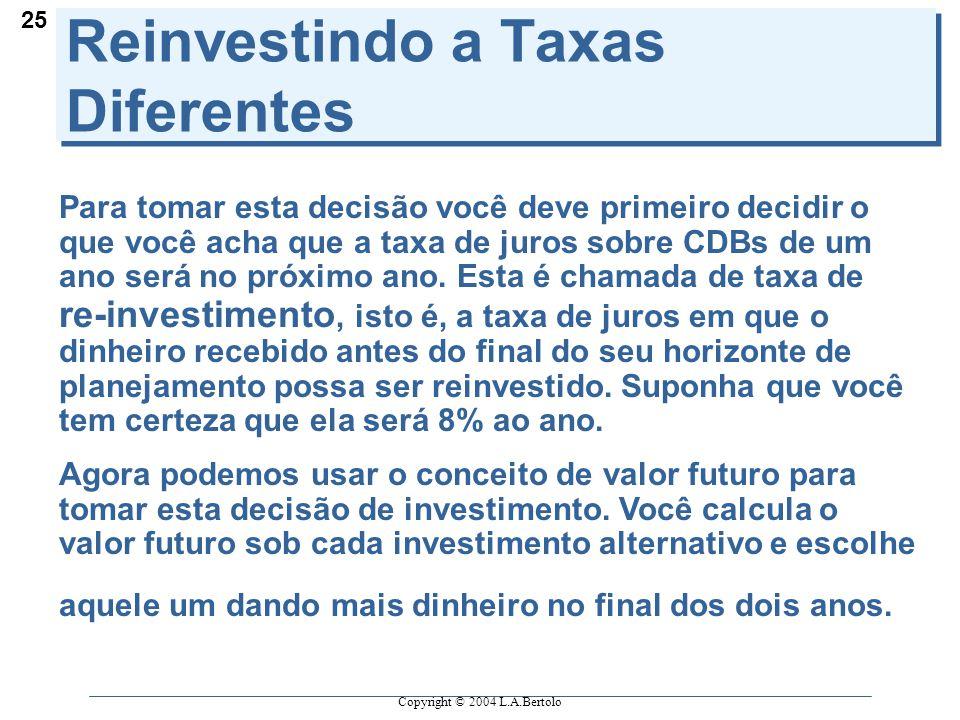 Copyright © 2004 L.A.Bertolo 25 Reinvestindo a Taxas Diferentes Para tomar esta decisão você deve primeiro decidir o que você acha que a taxa de juros sobre CDBs de um ano será no próximo ano.