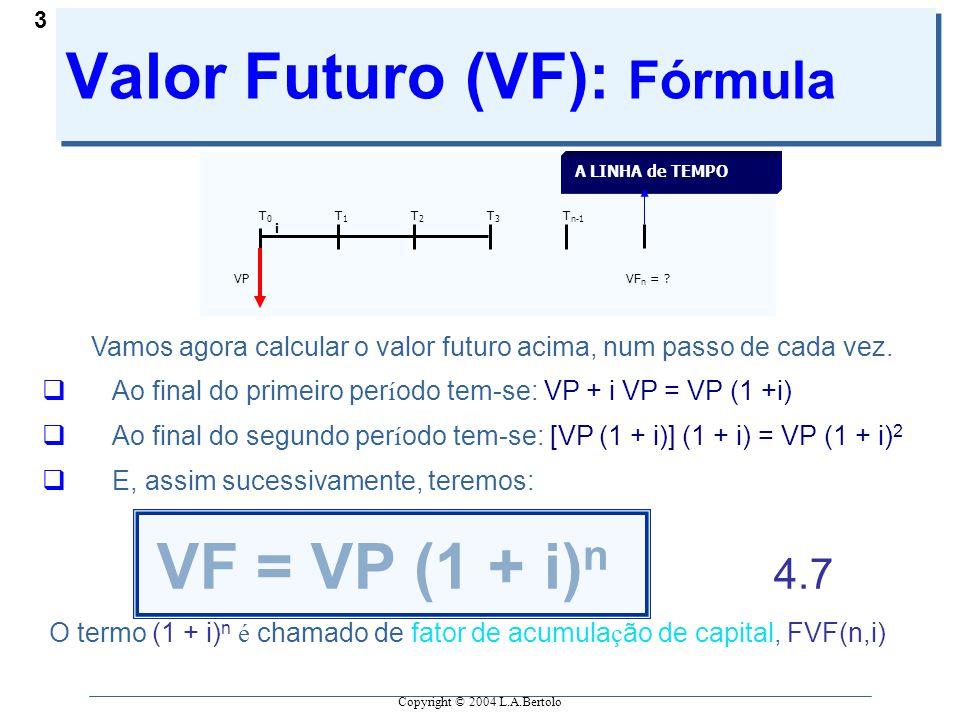 Copyright © 2004 L.A.Bertolo 3 Valor Futuro (VF): Fórmula T0T0 T1T1 T2T2 T3T3 T n-1 VPVF n = .
